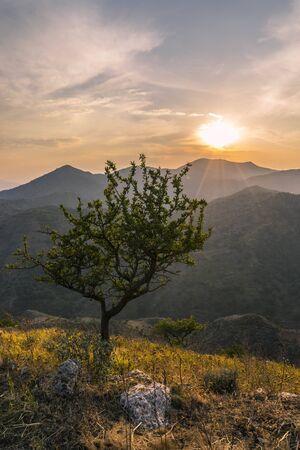 expressed: The wonderful sense of calm expressed by nature alone. Nestled among the beautiful mountains peloritani Stock Photo