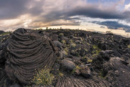 Etna: washing rope. The amazing plots of lava that characterizes the northern slope of Etna. Impressive, majestic with curious geometries Stock Photo