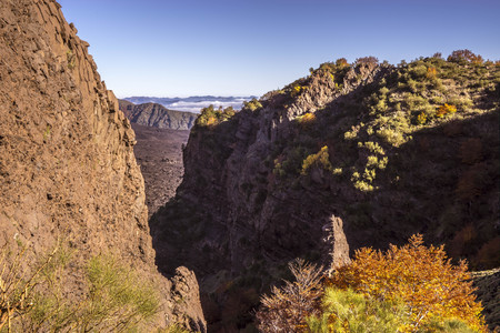 A canyon on Etna volcano. The Valle del Bove view.