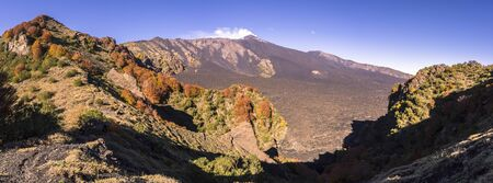 bove: An amazing panorama view of the Valle del Bove, on Etna volcano. Stock Photo