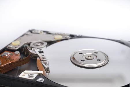 Inside view of hard disk Stock Photo