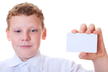 Boy holds the card Stock Photo - 11118352