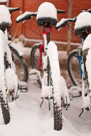 Covered with snow bikes
