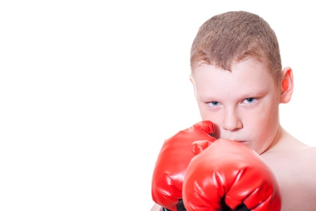 Boy boxer on a white background Stock Photo