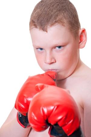 Boy boxer on a white background Stock Photo - 13007027