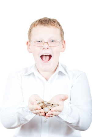 A teenager holding a handful of coins Stock Photo - 16217341