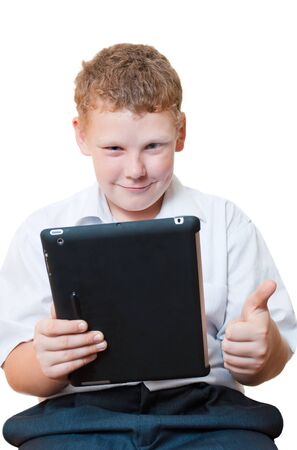 Boy holding a tablet computer Stock Photo - 16217322