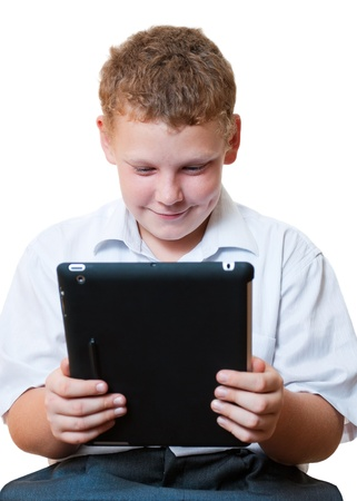 Boy holding a tablet computer