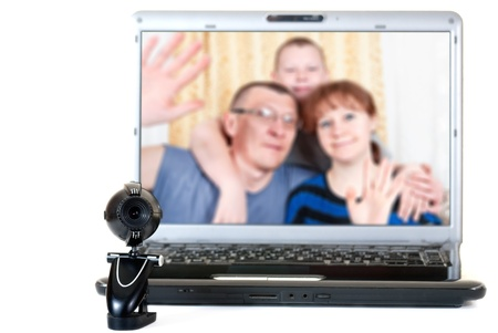 Family speaks on the video communications photo