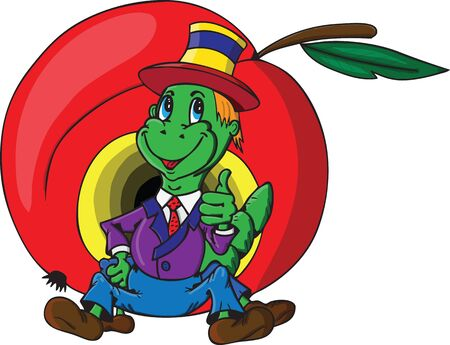 Jolly green caterpillar on a background of red apple photo