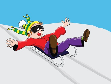 bob: The child quickly rolling from the mountain on a sled