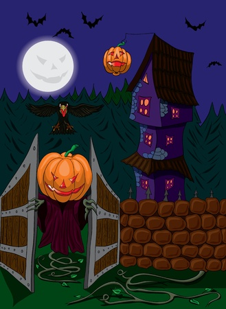 Halloween ghost with pumpkin head opens the gate Vector