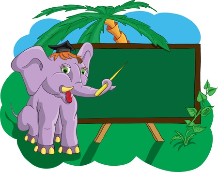 Elephant in the school shows pointer on school board Vector