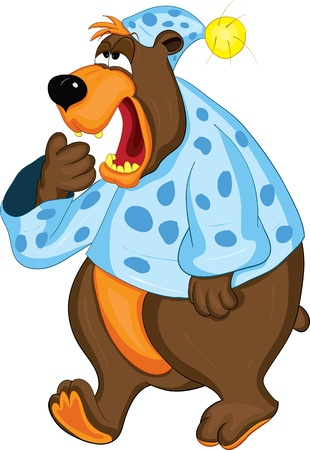 sleepy: Bear in pajamas covers mouth with his paw