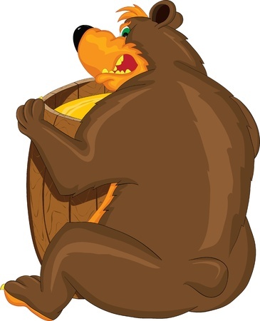 Greedy bear with a barrel of honey dissatisfied growls Vector