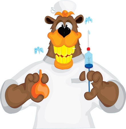 hospital gown: Bear cheerful doctor with an enema  and syringe