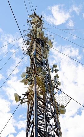 High mast with lots of cellular antennas Stock Photo