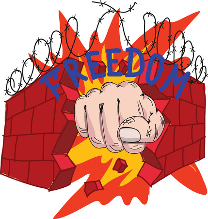 oppression: fists mashes a brick wall, concept of freedom Illustration