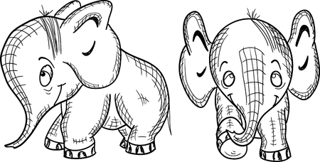 Funny elephant on a white background, vector Illustration