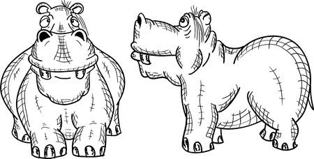 Figure hippopotamus on a white background, vector Illustration