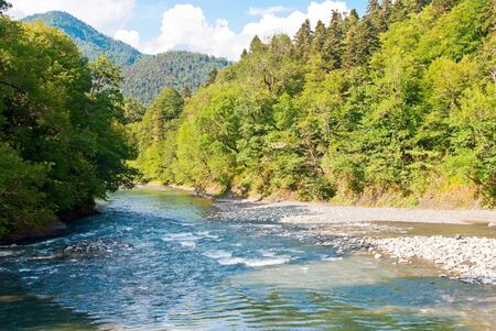Beautiful mountain river on a background of mountains
