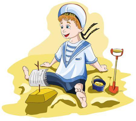 A boy in a sailor shape ship built of sand. Illustration