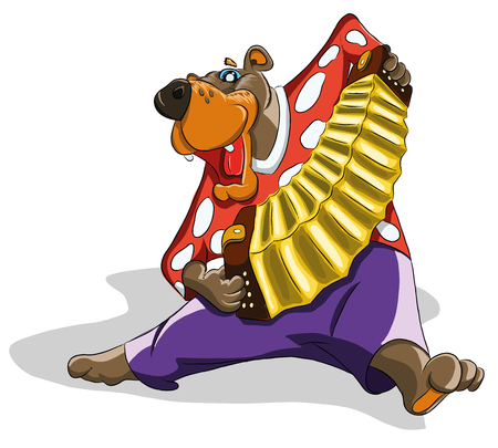 Funny bear plays the accordion and dancing, illustration Illustration