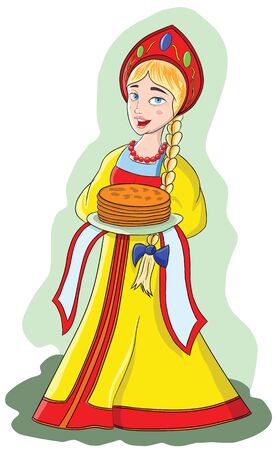 Young girl in folk dress keeps pancakes on a plate