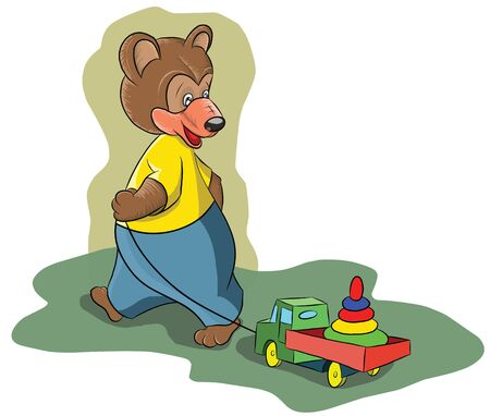 Funny little bear pulling a toy car