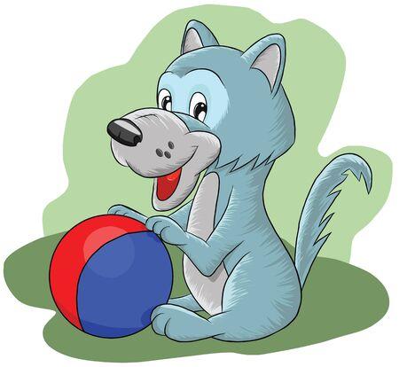 Funny little wolf playing ball, illustration Illustration