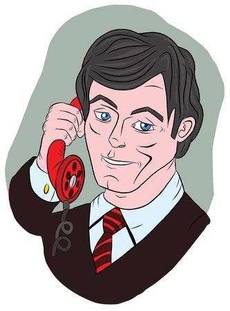 Smiling businessman talking on the phone, illustration