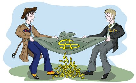 Two men of a businessman breaking the bag of money, Illustration