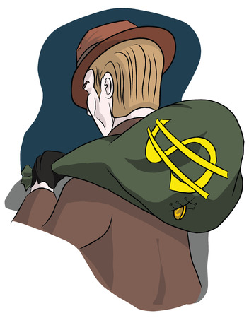 The man in the hat carries a bag of money, illustration