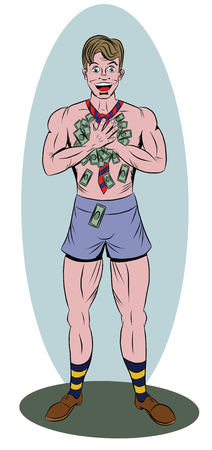 Stripped man holds two hands with a lot of money Illustration