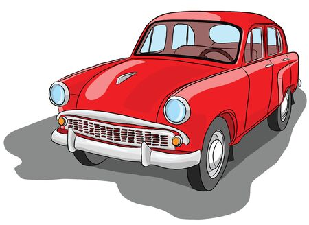 Beautiful old red passenger car retro, illustration