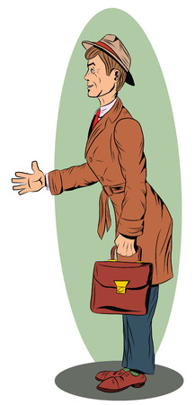 A man with a briefcase in a raincoat and hat extends a hand greeting