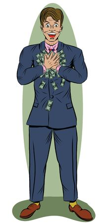 A man in a suit holds a lot of money with both hands Illustration