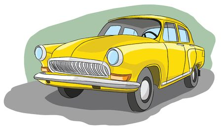Beautiful old yellow retro car, vector illustration