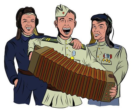 Three Soviet soldiers sing and play the accordion Illustration