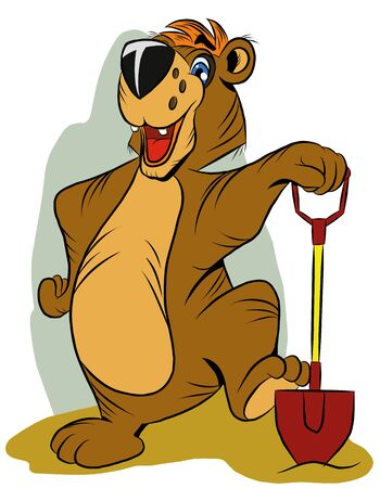 Cheerful funny bear holding a shovel, on white background