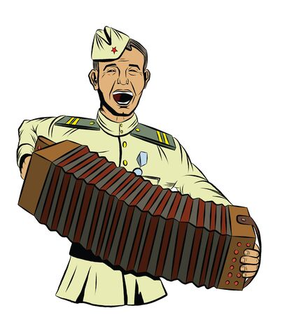 Soviet soldier plays the accordion and sings a song Illustration