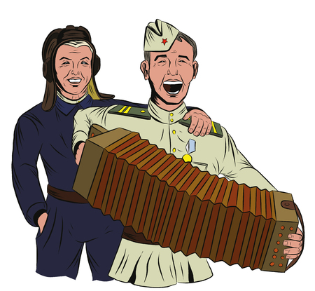 Two Soviet soldiers sing and play the accordion