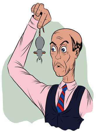 Surprised man in a tie, holds the tail of a mouse