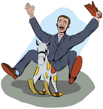 A man in a suit of laughs while riding a baby horse Illustration