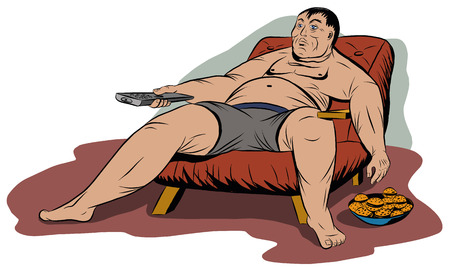 Fat man sitting in a chair, holding a TV remote control Illustration
