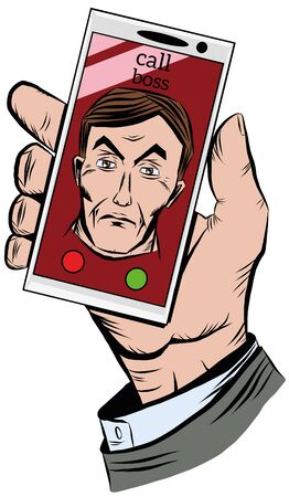 Hand holding a phone with an incoming call from the chief Illustration