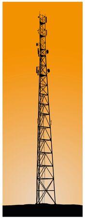 Cellular tower on sunset background, illustration