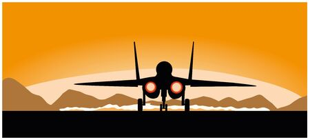 A flying military aircraft on a sunset background, illustration
