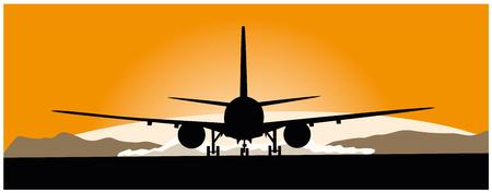 Airliner taking off at sunset, Vector illustration