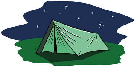 bad weather: Tourist tent on the background of the night starry sky Illustration